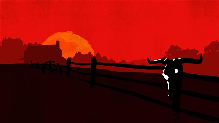 red dead redemption 2 minimalist 8k Mac Wallpaper