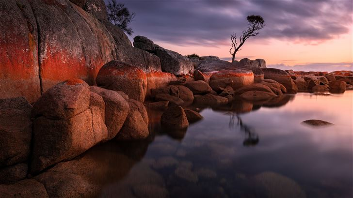 evening bay of fires 5k Mac Wallpaper