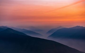 hazy sunset in olympic national park 5k iMac wallpaper