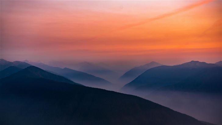 hazy sunset in olympic national park 5k Mac Wallpaper