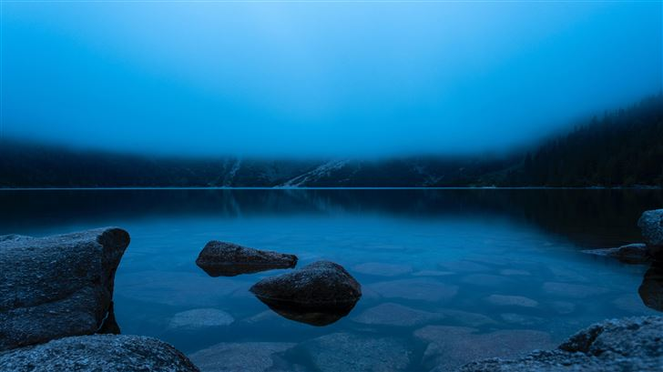 morskie oko poln calm lake in the mountains 5k Mac Wallpaper
