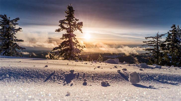 low angle photo of snow field Mac Wallpaper