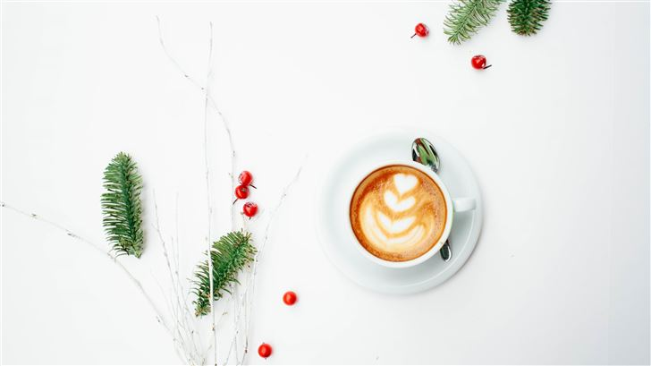white ceramic coffee mug with latte art Mac Wallpaper