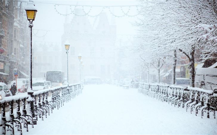 road covered by snow near vehicle traveling at day Mac Wallpaper