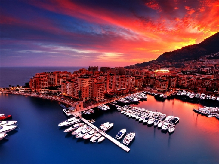 Monaco sunset Mac Wallpaper