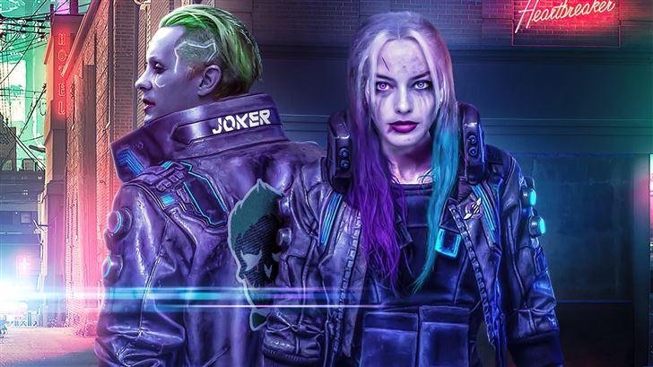 cyberpunk 2077 joker x harley quinn 5k Mac Wallpaper