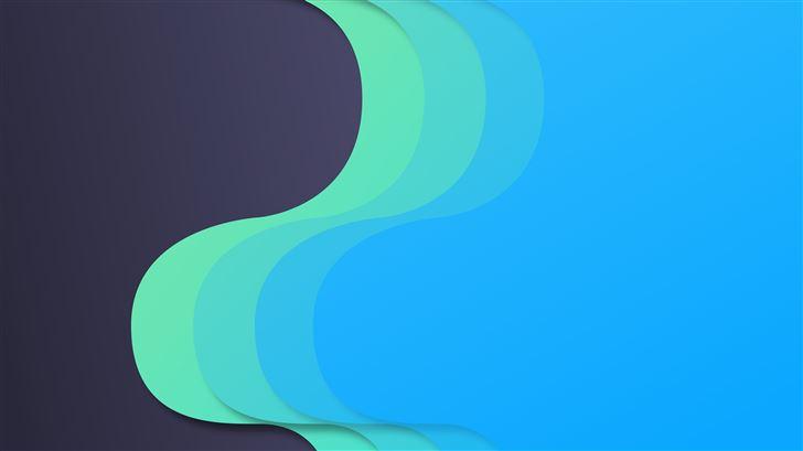 material design flow blue green 8k Mac Wallpaper