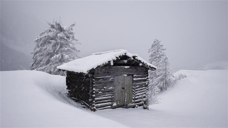 mountain hut snow 5k Mac Wallpaper
