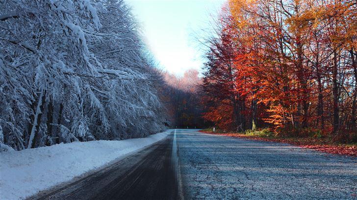autumn vs winter 5k Mac Wallpaper