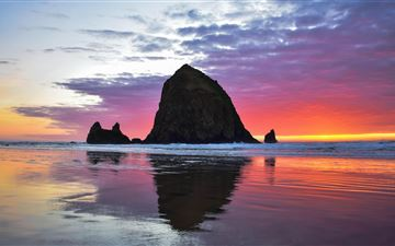 cannon beach sunset 5k iMac wallpaper