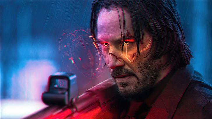 cyberpunk 2077 john wick 5k Mac Wallpaper