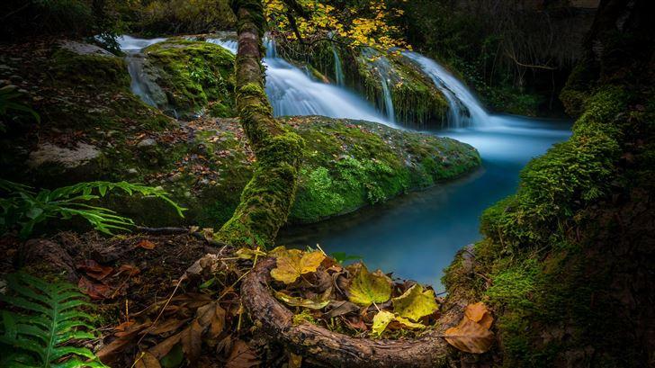 waterfalls moss foliage 5k Mac Wallpaper