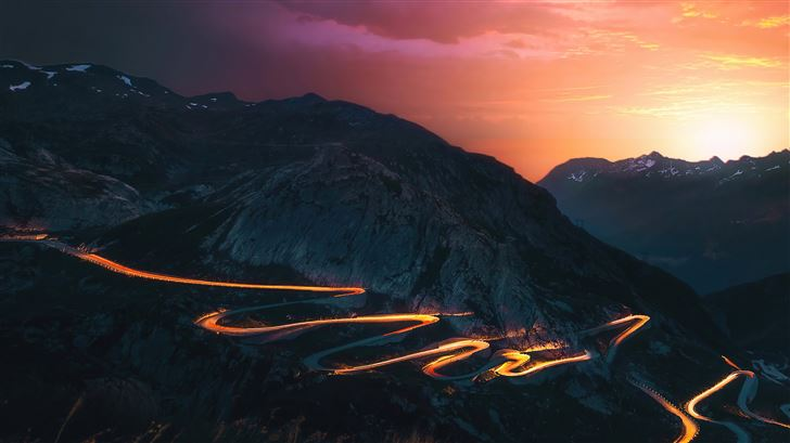 sunset trails mountains road long exposure 5k Mac Wallpaper