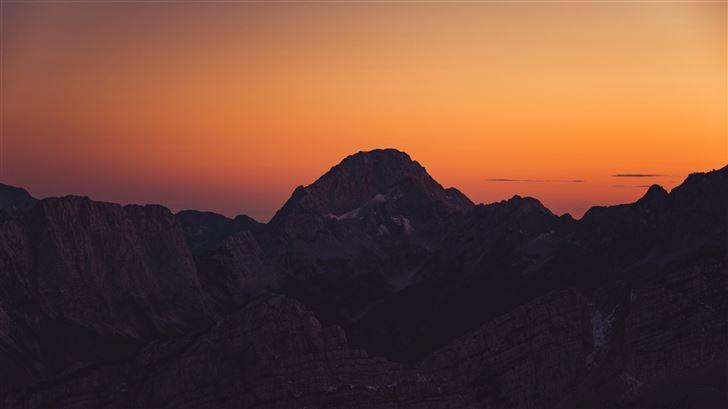 orange sky landscape sunset mountains 8k Mac Wallpaper