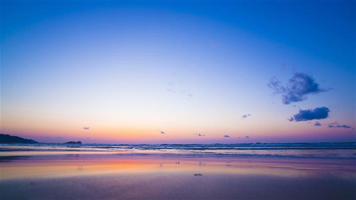 sea coast sunset horizon waves Mac Wallpaper