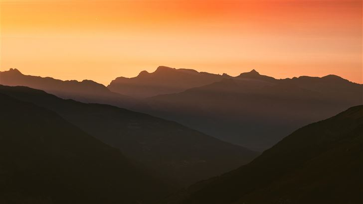 swiss alps cold mountains silhouette 5k Mac Wallpaper