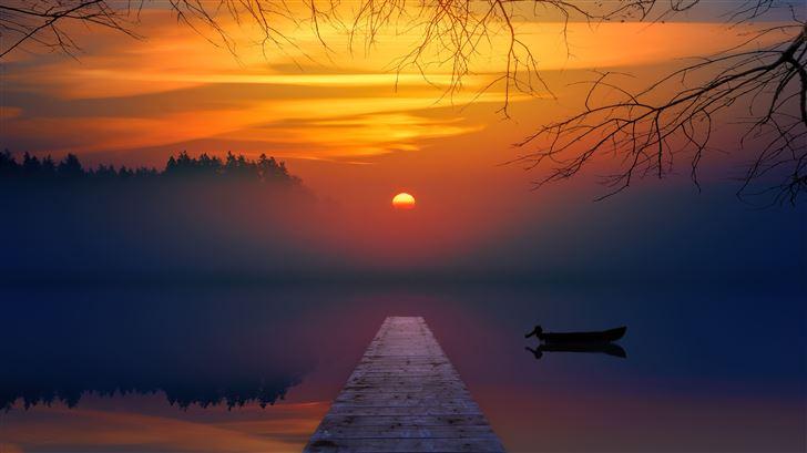 lake sunset reflection 5k Mac Wallpaper