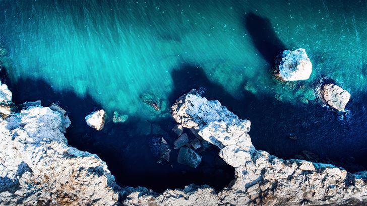 aerial drone island beach view 5k Mac Wallpaper