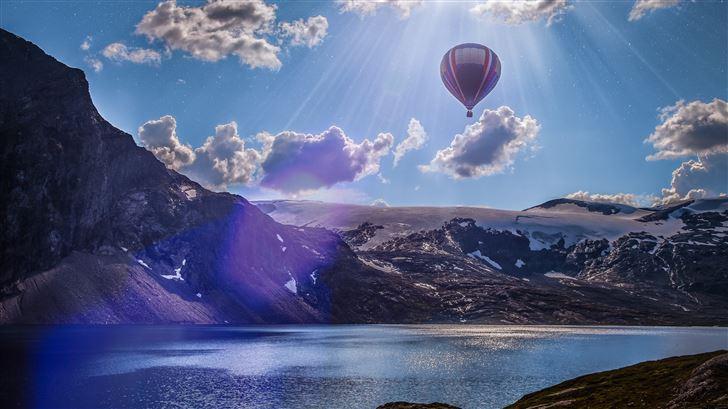 norway lake landscape air balloon 5k Mac Wallpaper