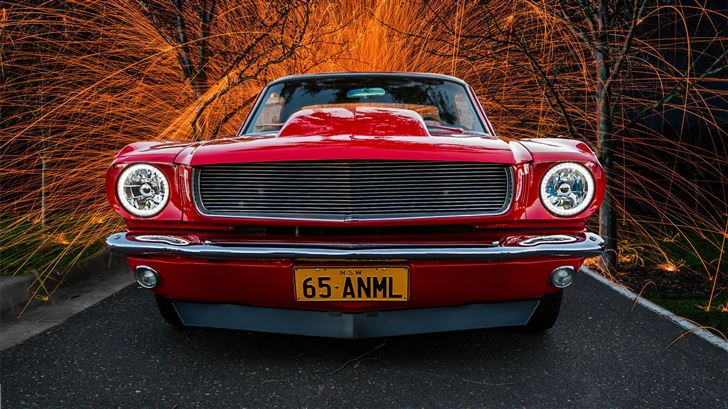 red classic car in high saturation photography Mac Wallpaper