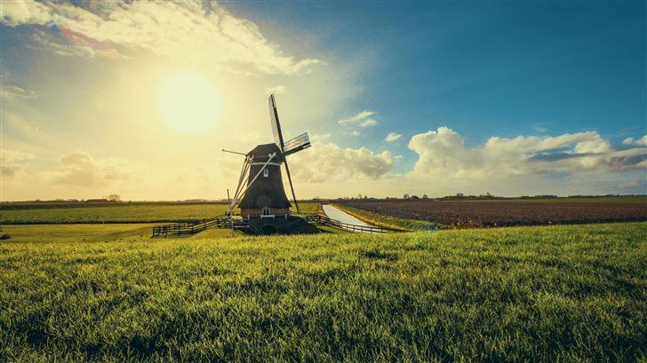 windmill in farmland sunset view 5k Mac Wallpaper