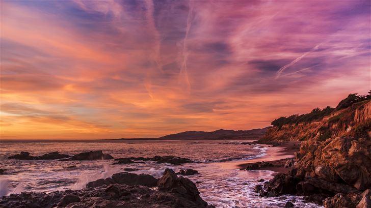 usa coast sunrise waves 5k Mac Wallpaper