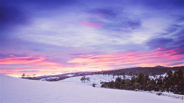 snowy mountains landscape 5k Mac Wallpaper