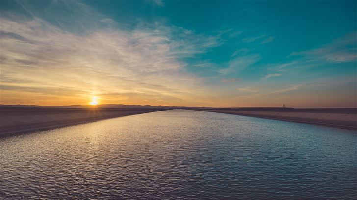 river landscape sun beams 5k Mac Wallpaper