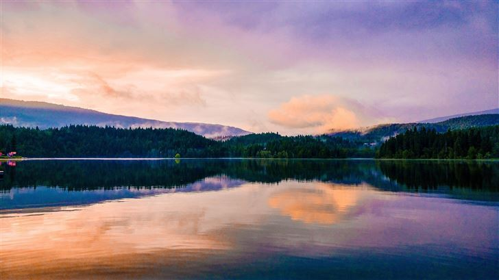 mirror lake reflection sunset scenic 5k Mac Wallpaper
