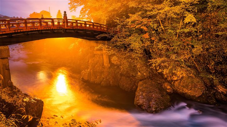 river flowing bridge 5k Mac Wallpaper