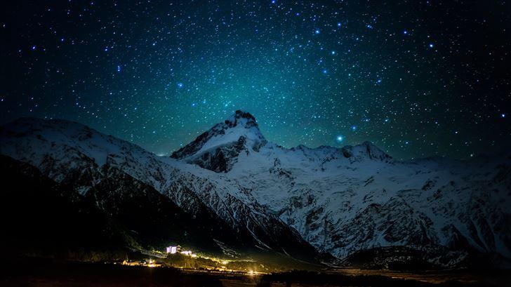 mount cook village under the winter stars 8k Mac Wallpaper