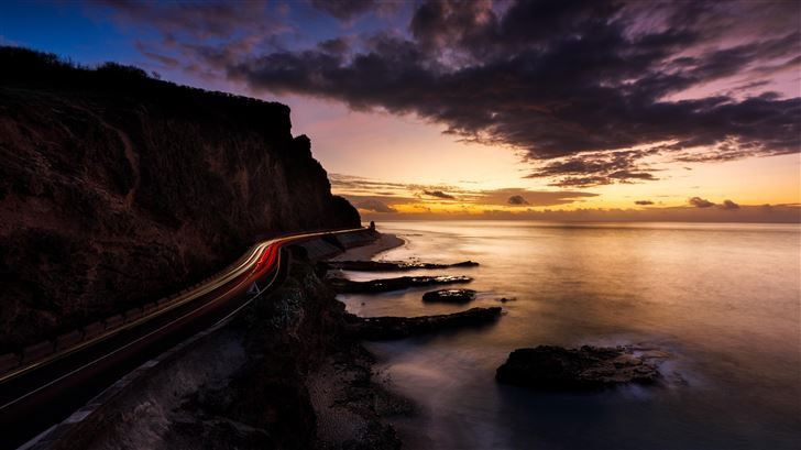 long exposure road around mountains 5k Mac Wallpaper