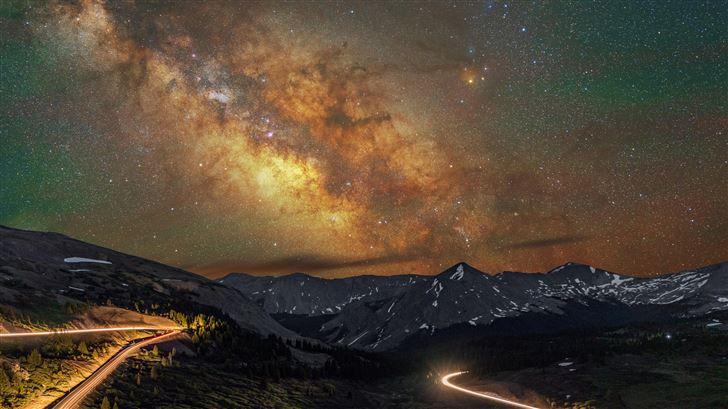 mountains long exposure milky way 8k Mac Wallpaper