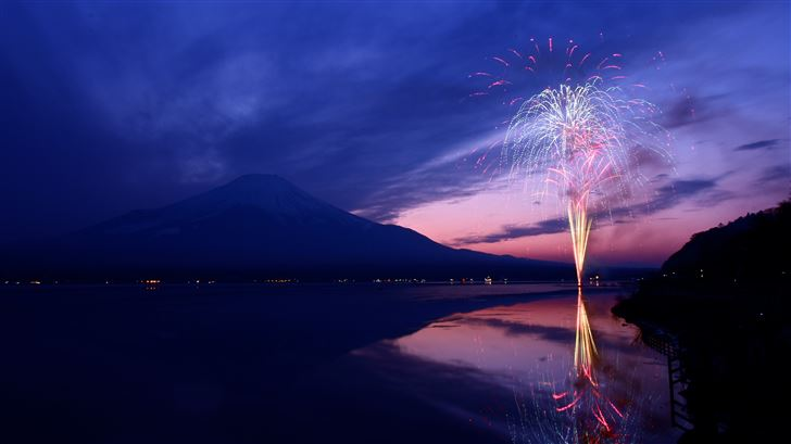 mount fuji fireworks japan 5k Mac Wallpaper