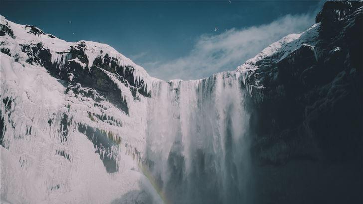blue sky waterfall snow iceland mountains Mac Wallpaper
