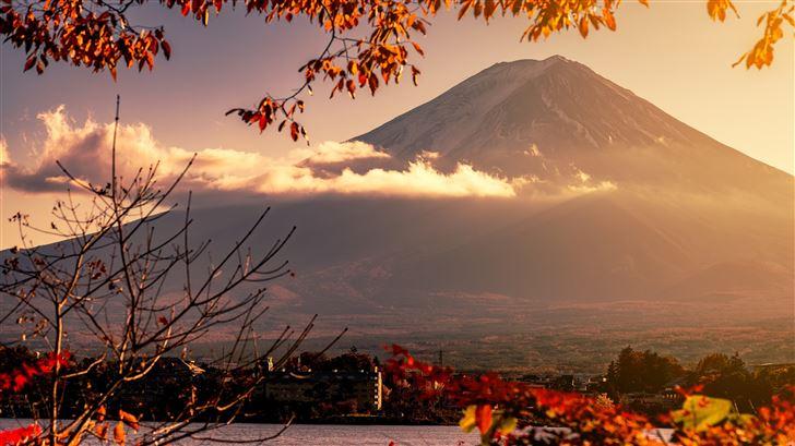 mount fuji volcano morning 5k Mac Wallpaper