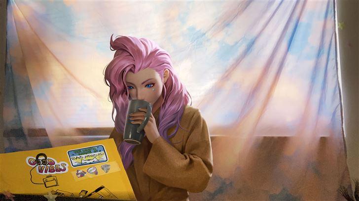 kda seraphine late morning coffee 5k Mac Wallpaper