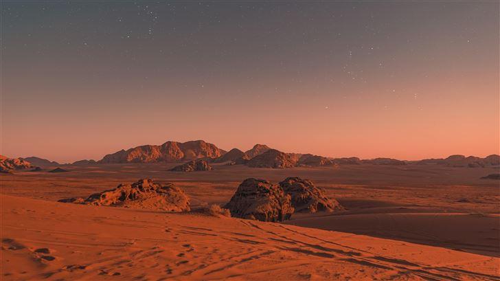 brown sand under blue sky 5k Mac Wallpaper