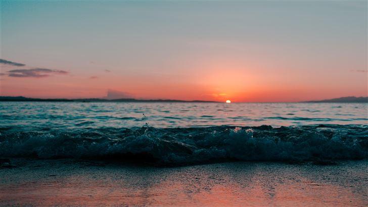 sea shore ocean during sunset Mac Wallpaper