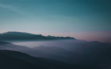 early morning fog sky mountains MacBook Air wallpaper