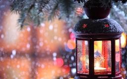 Glass Lantern Christmas Tree Snow