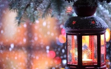 Glass Lantern Christmas Tree Snow Mac wallpaper