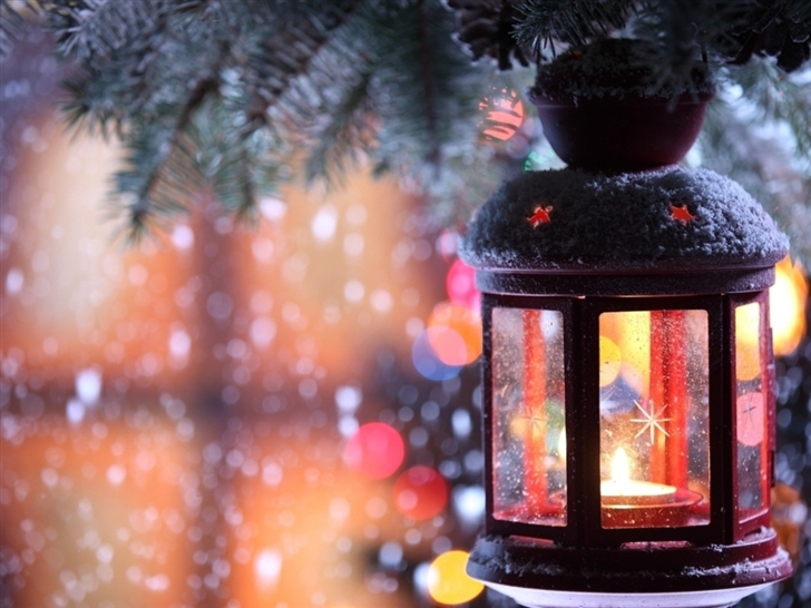 Glass Lantern Christmas Tree Snow Mac Wallpaper