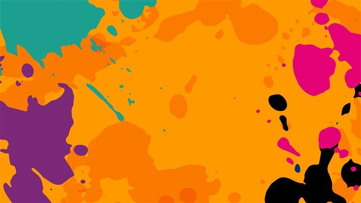 orange colour splashes 8k Mac Wallpaper