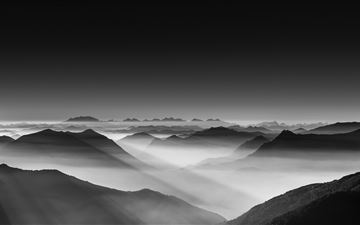 haze mountain landscape monochrome 5k iMac wallpaper