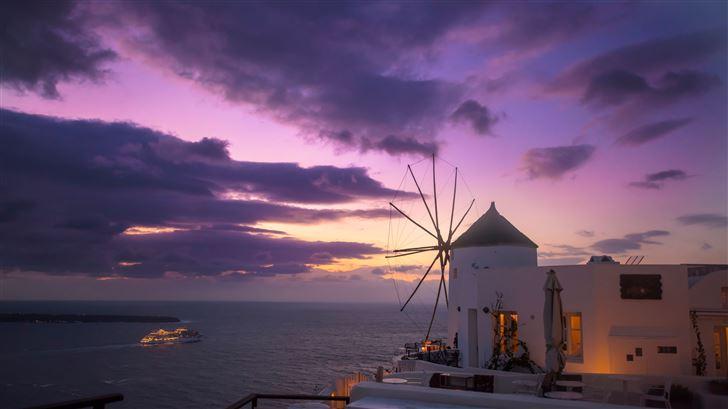 windmill building sunrise beach coast 8k Mac Wallpaper