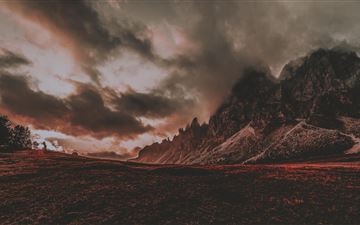 red dusk landscape mountain scenic 5k MacBook Air wallpaper