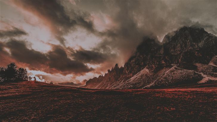 red dusk landscape mountain scenic 5k Mac Wallpaper