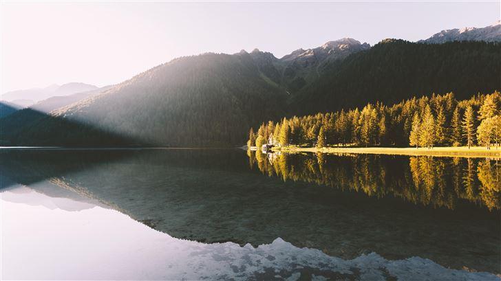 lakeside reflection landscape 5k Mac Wallpaper