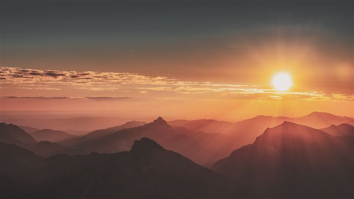 sunrise mountains landscape evening 5k Mac Wallpaper